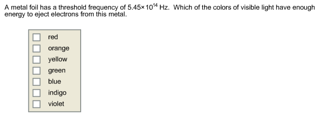 how to find threshold frequency of a metal