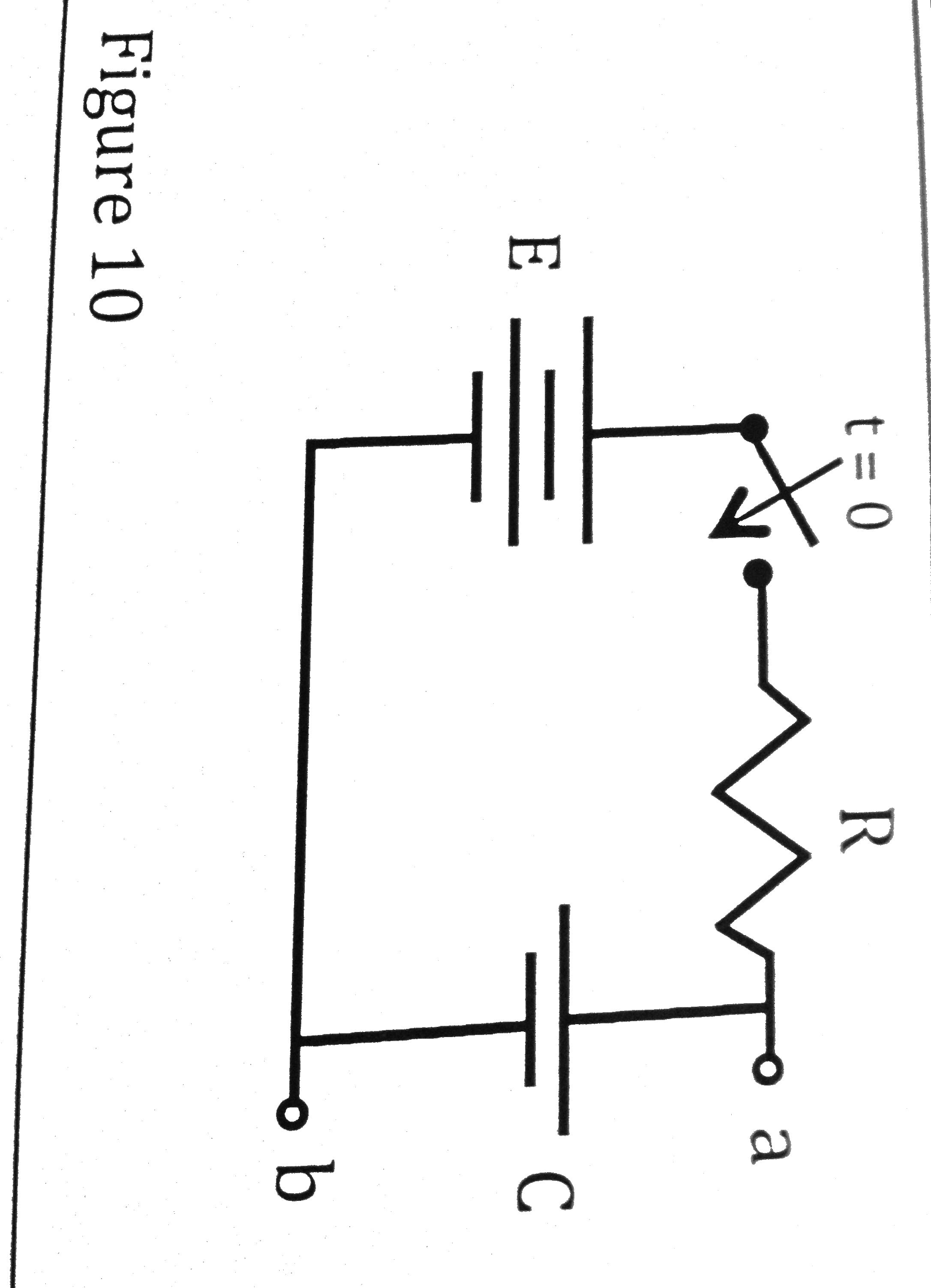 In figure 10, E = +10V and R=2 Ohms. C = 3C and vc