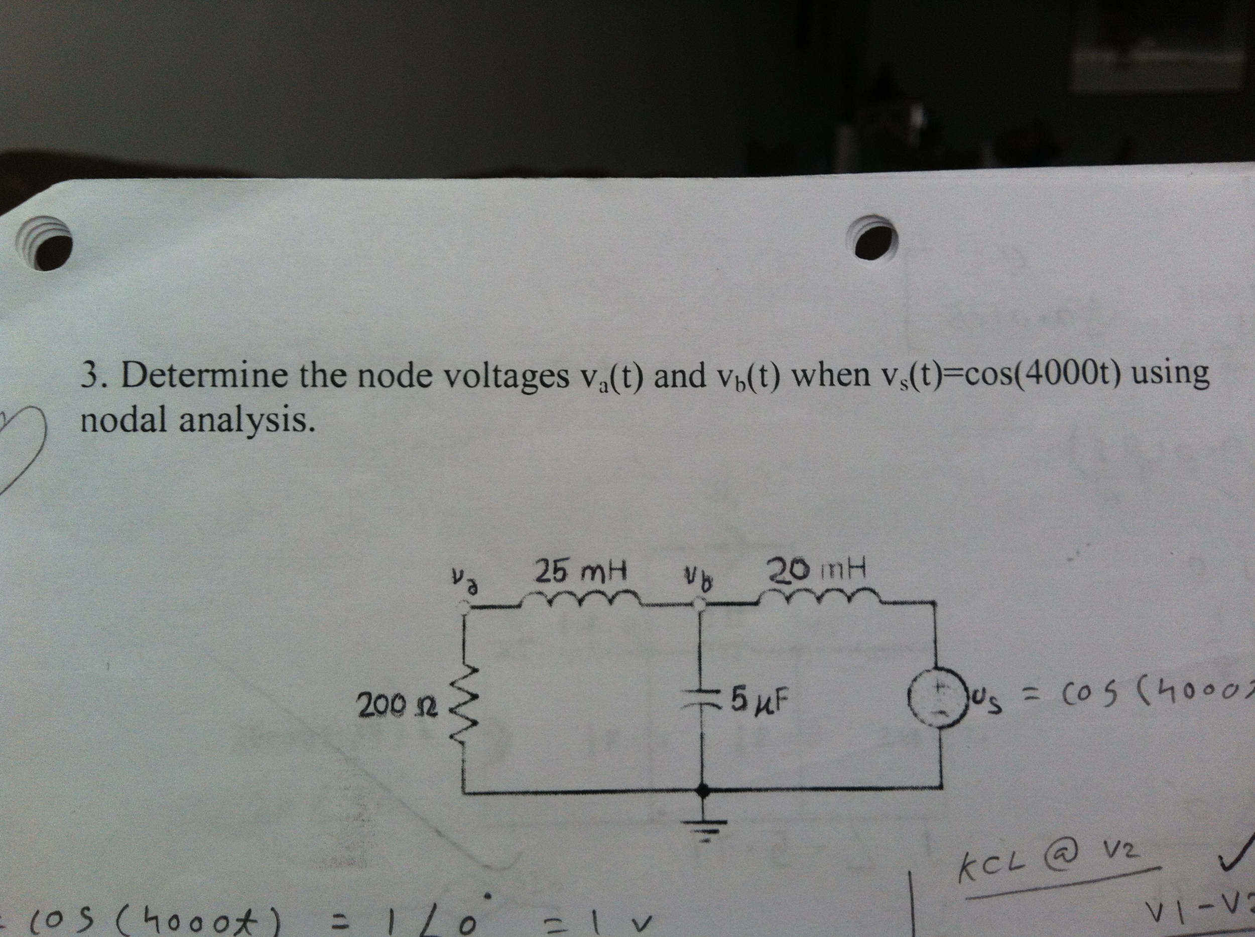 Determine the node voltages va(t) and vb(t) when v