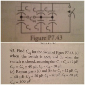 Find C eq for the circuit of Figure P7 .43 ,(a) W