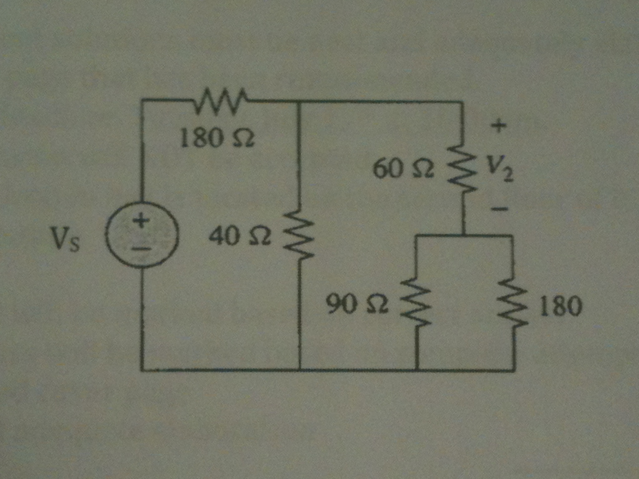 In the following circuit (shown below), suppose V2