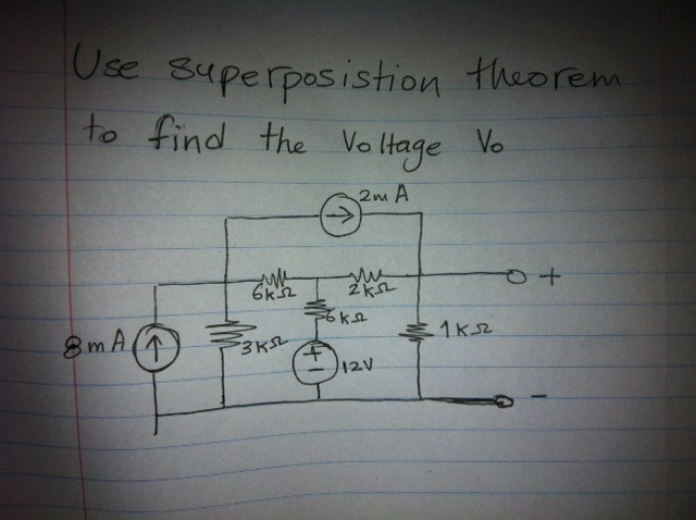 use superposition theorem to find the Voltage Vo