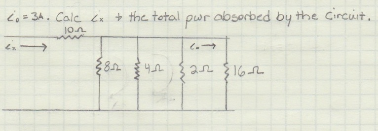 i0 = 3A. Calc ix & the total pwr absorbed by the C