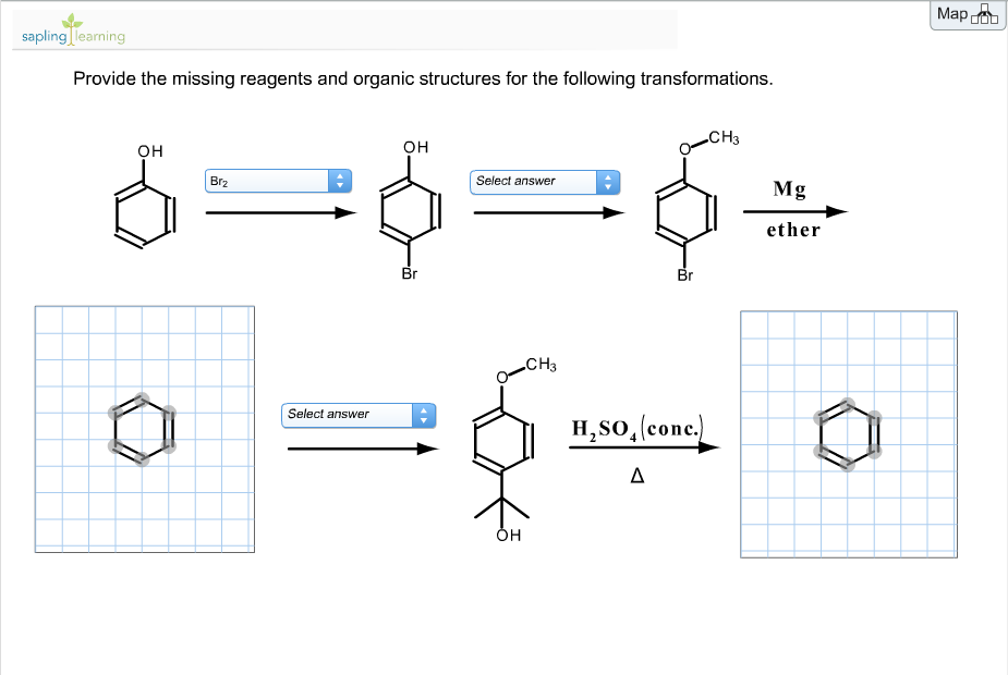 Provide the missing reagents and organic structure