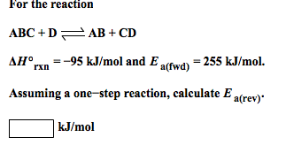 For the reaction ABC + D AB + CD delta H degree