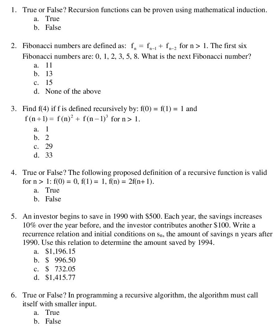 Solved  True Or False  Recursion Functions Can Be Proven U