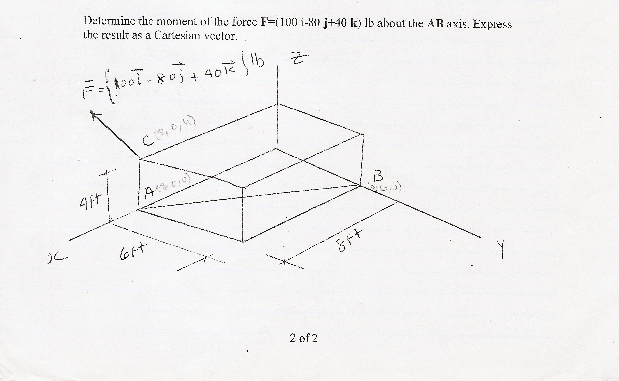 Determine the moment of the force F=(100 i-80 j+40