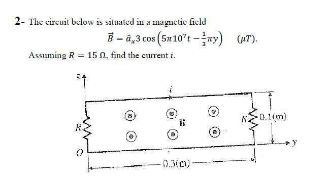 The circuit below is situated in a magnetic field