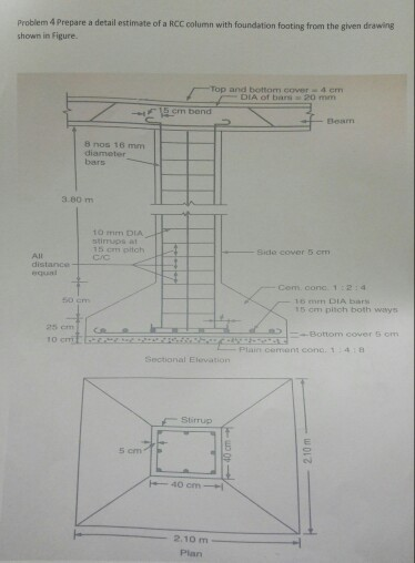 Solved prepare a detail estimate of a rcc column with fou for Rcc home show