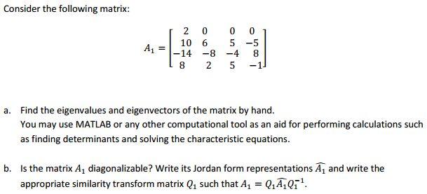 Consider The Following Matrix: A1 = Find The Eigen... | Chegg.com
