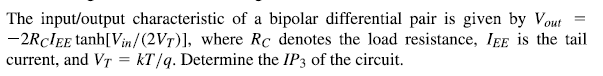 The input/output characteristic of a bipolar diffe