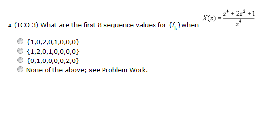(TCO 3) What are the first 8 sequence values for {