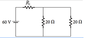 What is the current in the R1 = 13 ? resistor in t