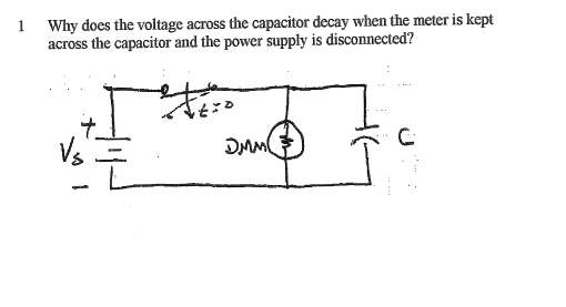 Why does the voltage across the capacitor decay wh