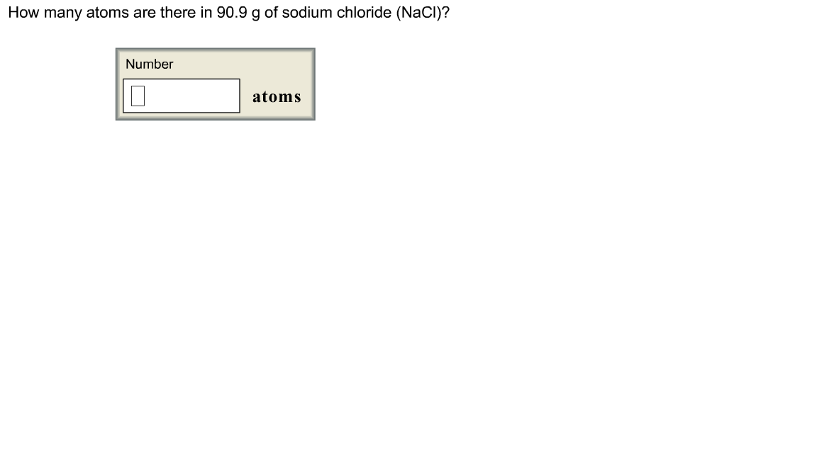 How many atoms are there in 90.9 of sodium chlorid