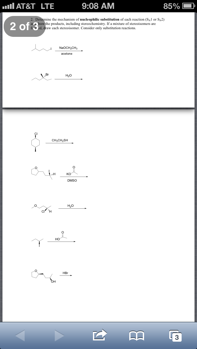 Determine the mechanism of nucleophilic substituti