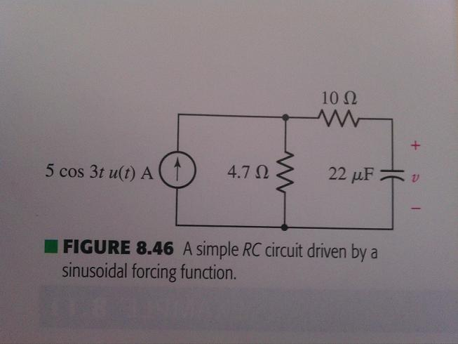 Determine the capacitor voltage v in the circuit o