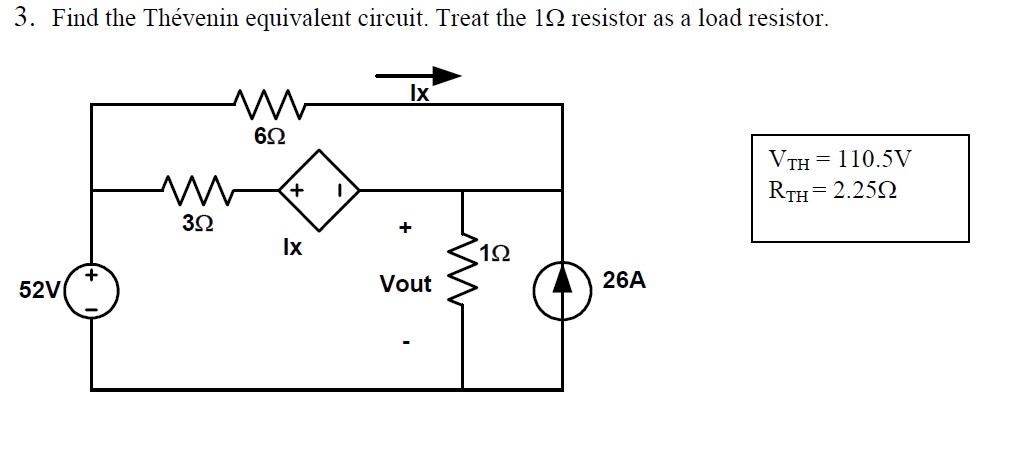 Find the Th venin equivalent circuit. Treat the 1