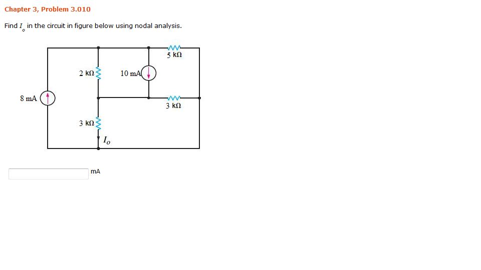 Find I0 in the circuit in figure below using nodal
