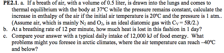 If a breath of air, with a volume of 0.5 liter, is