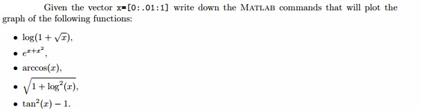 Given the vector x = [0: .01 : 1] write down the M