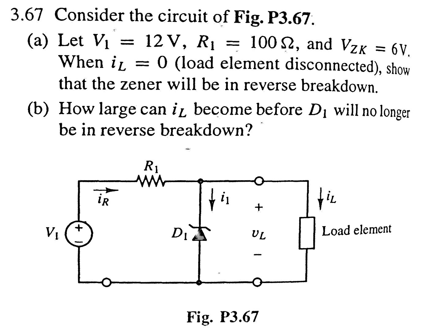 Consider the circuit of Fig. P3.67. Let V1 = 12 V