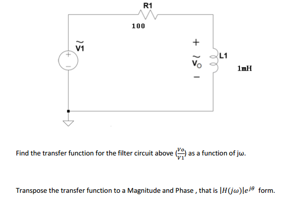 Find the transfer function for the filter circui