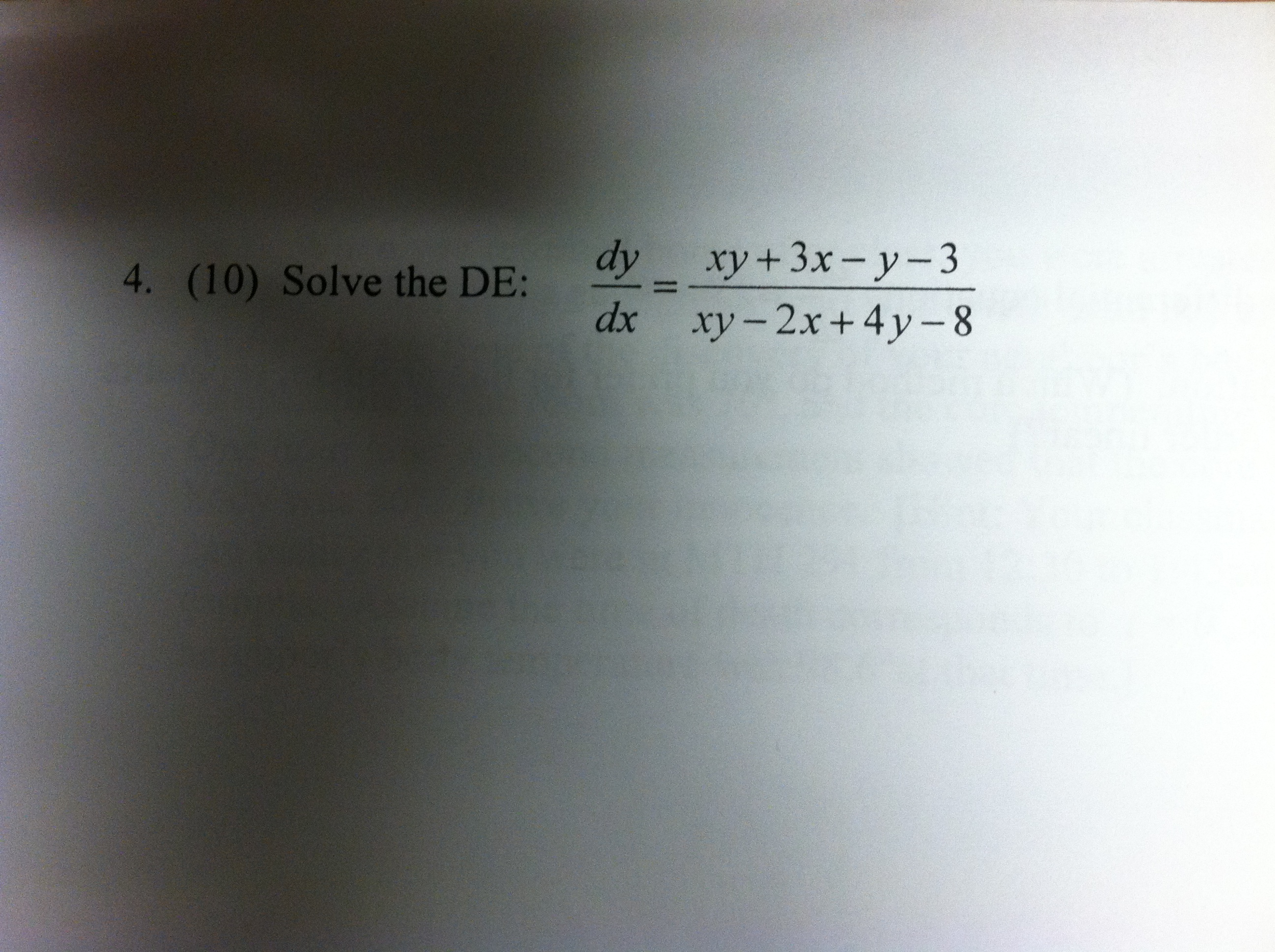 Solve the DE: dy/dx = xy + 3x - y - 3/xy - 2x + 4