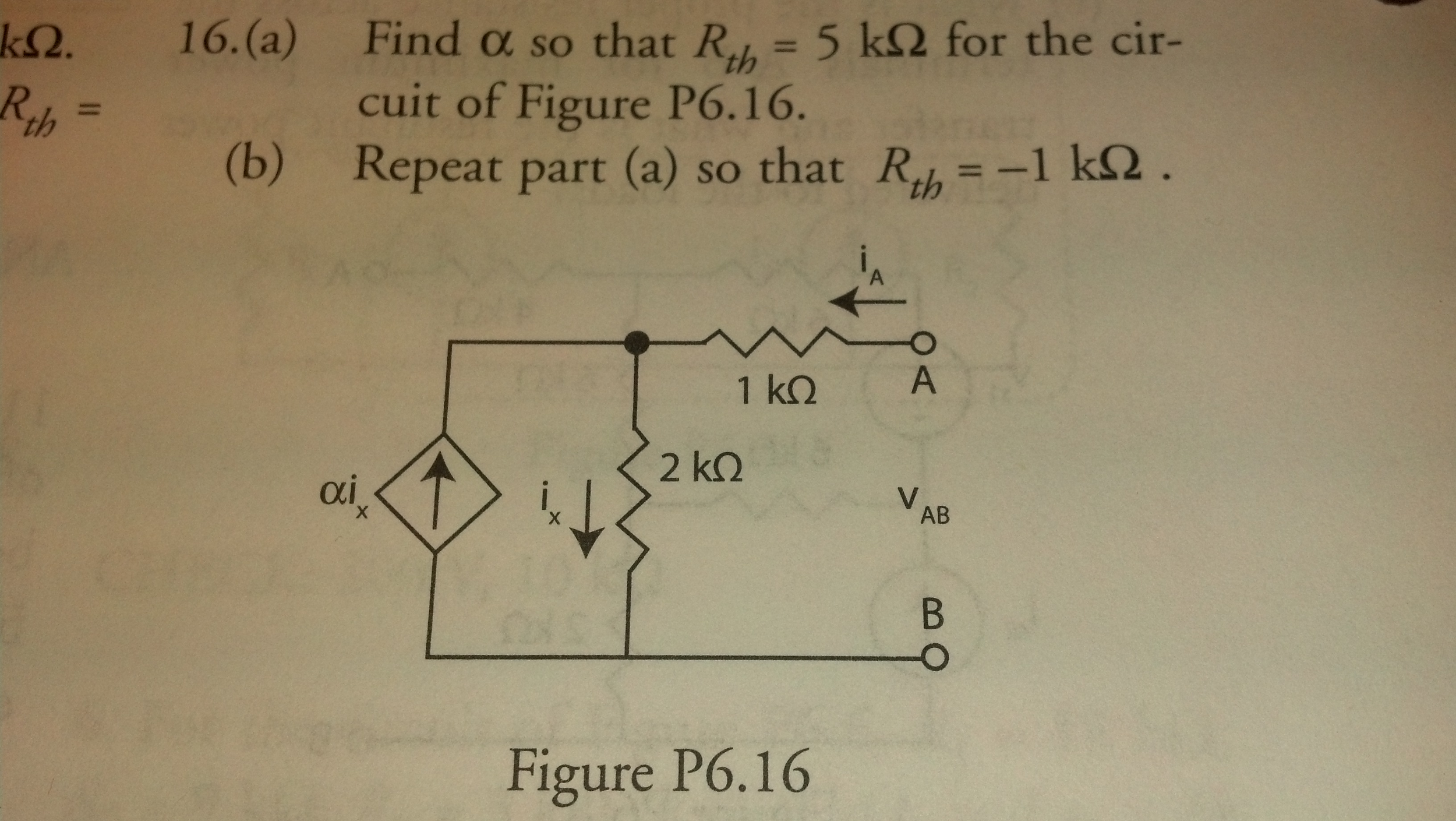 Find alpha so that Rth = 5 k ohm for the circuit o