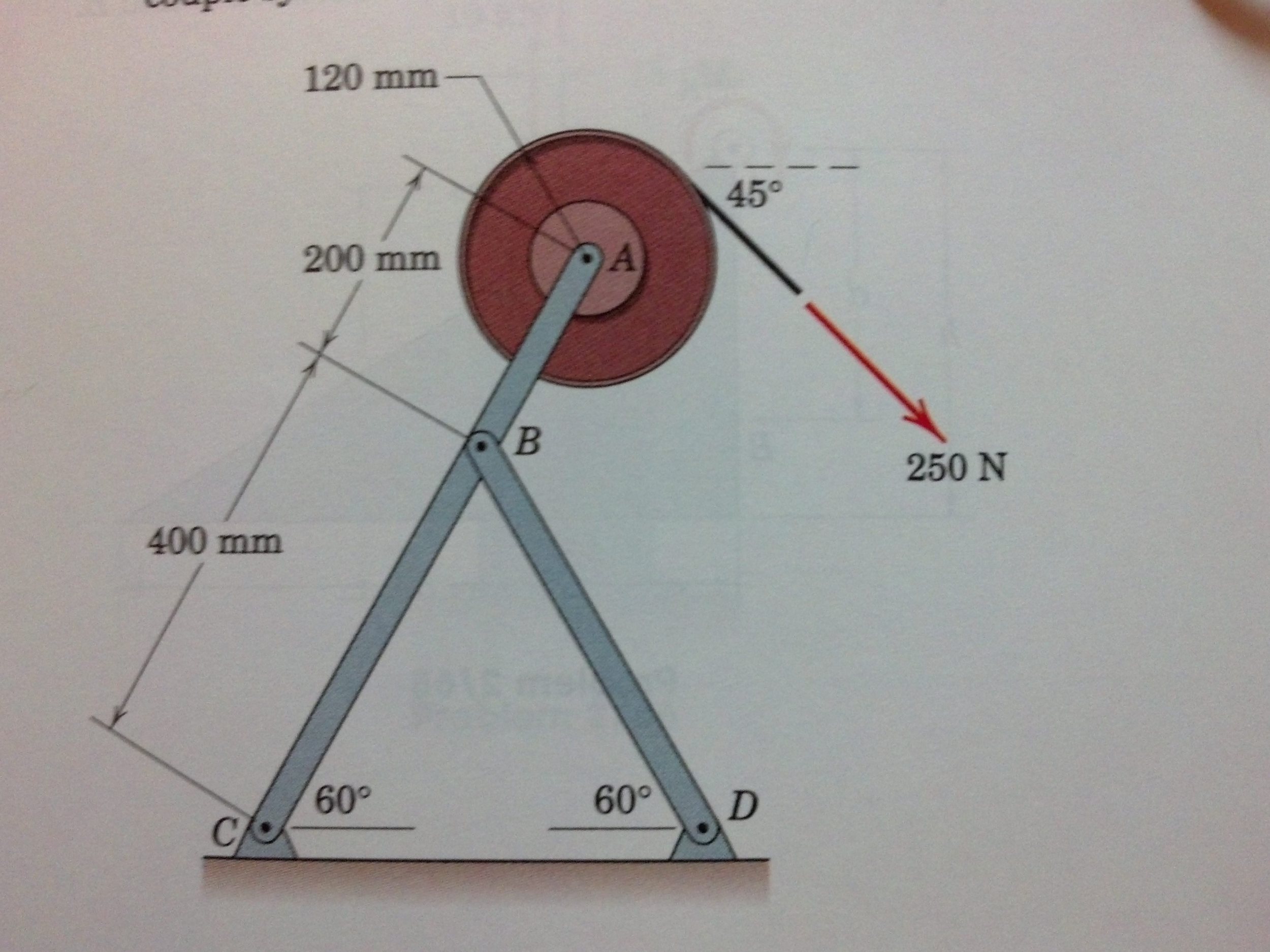 The 250-N tension is applied to a cord which is se