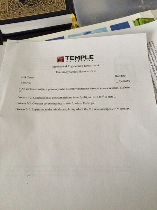 Solved ttemple mechanical engineering department thermody for Full name of pi