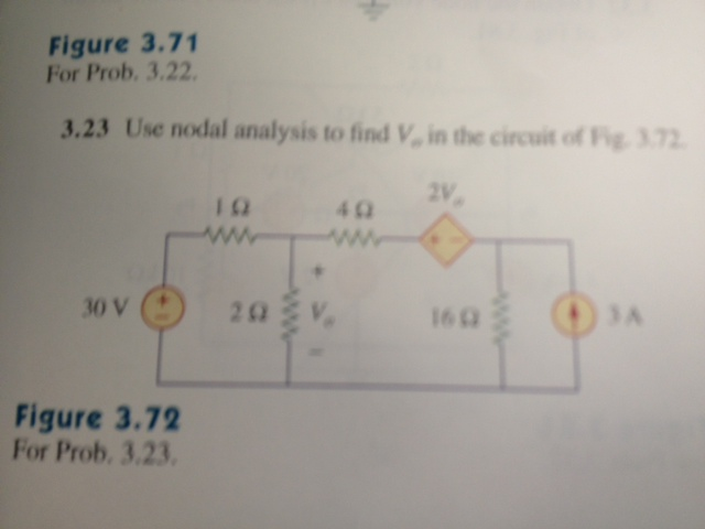 Use nodal analysis to find V in the circuit of Fig
