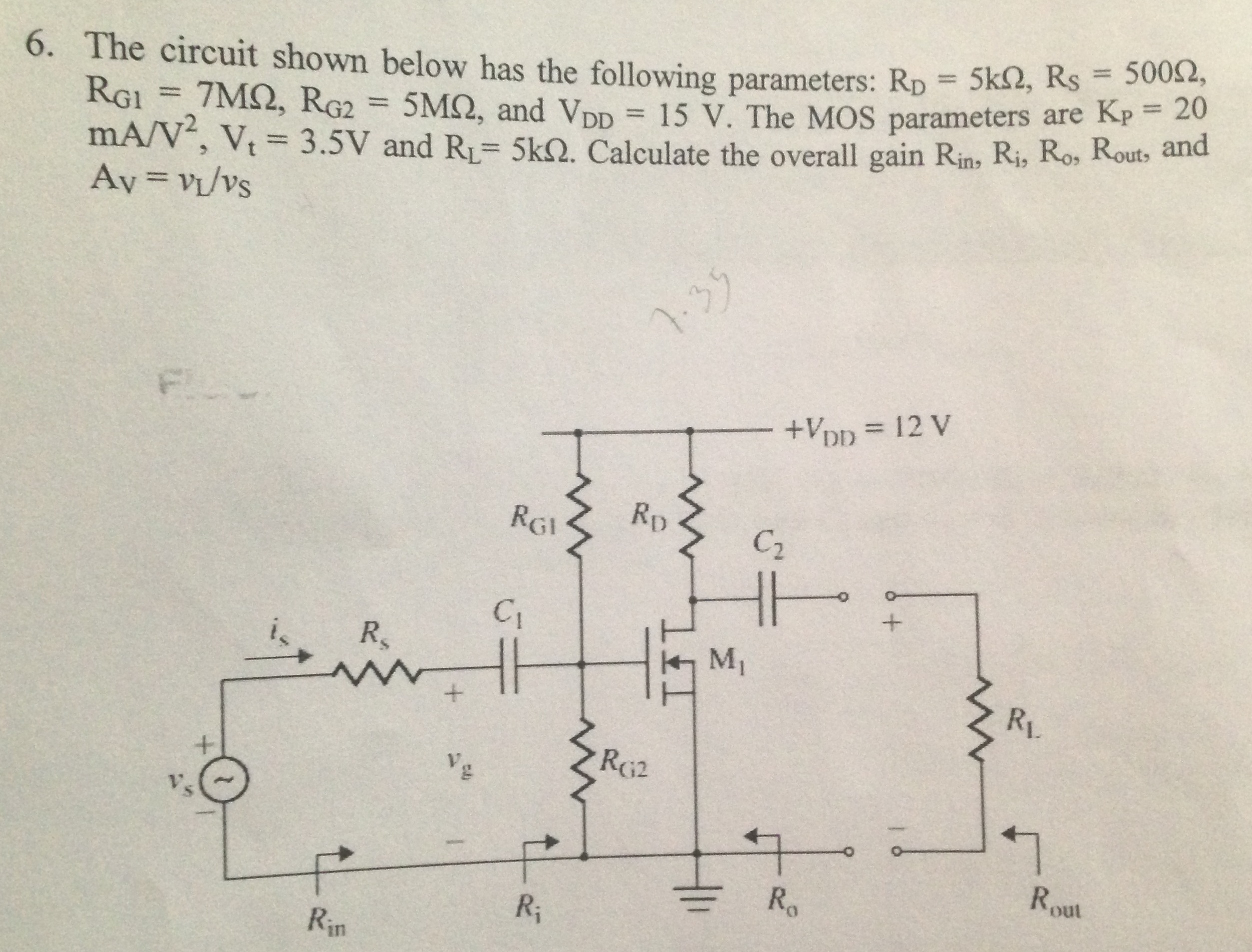 The circuit shown below has the following paramete