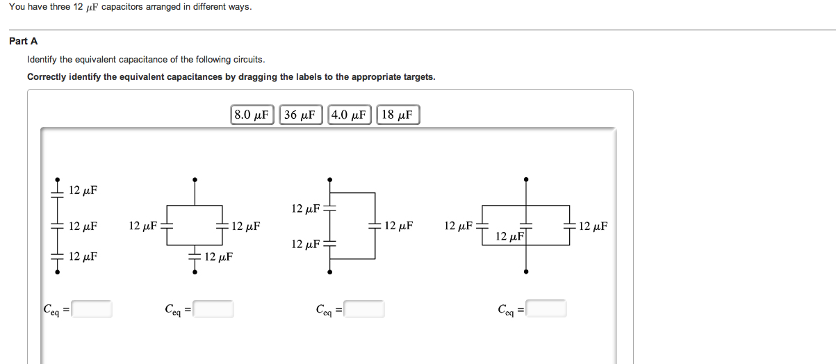 You have three 12 mu F capacitors arranged in diff