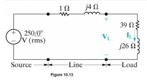Image for In the circuit shown in Fig 10.13, a load having an impedance of 39+j26(ohms) is fed from a voltage source thr