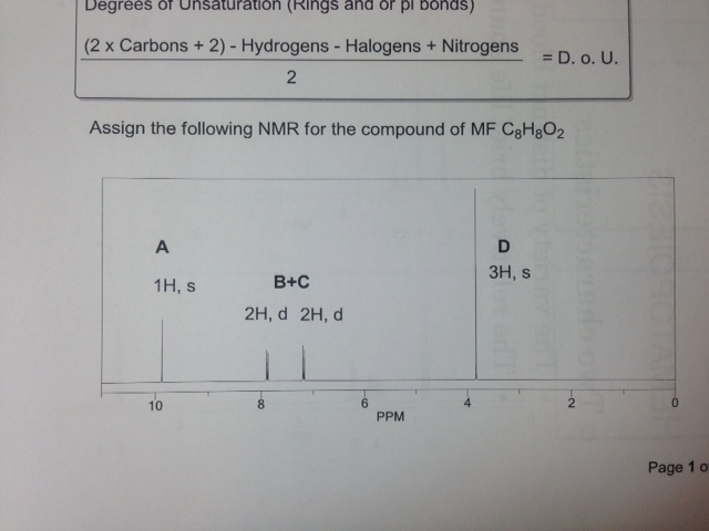 Assign the following NMR for the compound of MF C8