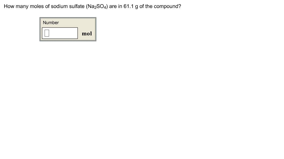 How many moles of sodium sulfate (Na2SO4) are in 6