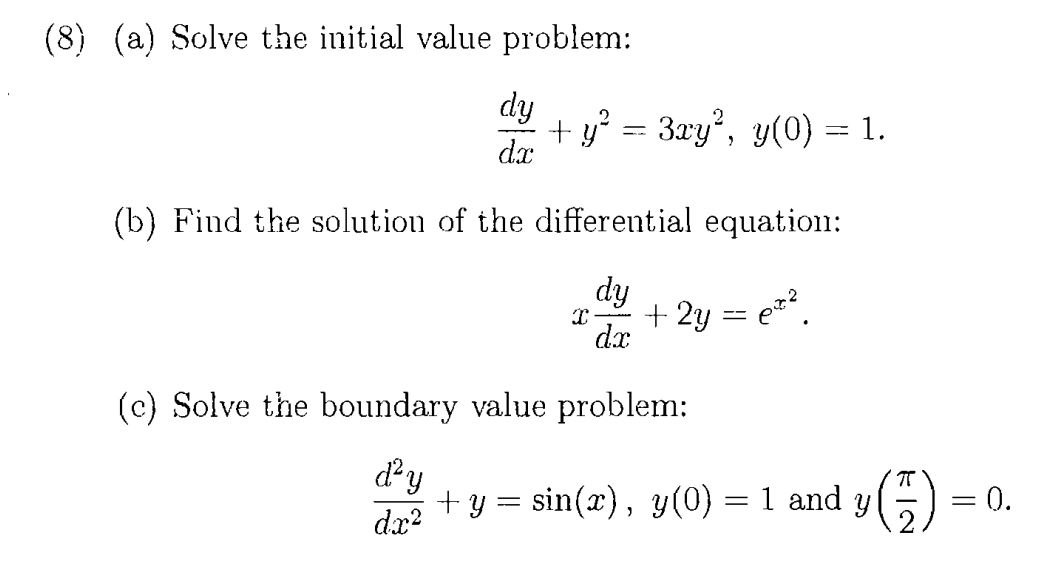 Differential equations coursework definitions