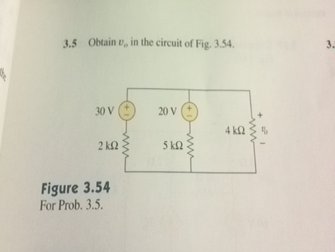 Obtain v0 in the circuit of Fig. 3.54. Figure 3.5