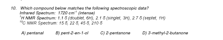 Which compound below matches the following spectro