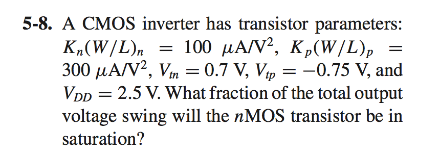 A CMOS inverter has transistor parameters: Kn(W/L)