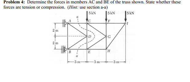 Determine the forces in members AC and BE of the t
