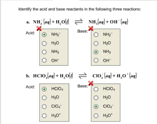 Identify the aad and base reactants in the followi