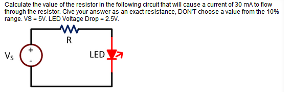 Calculate the value of the resistor in the followi
