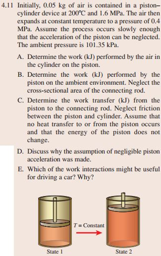 Initially. 0.05 kg of air is contained in a piston