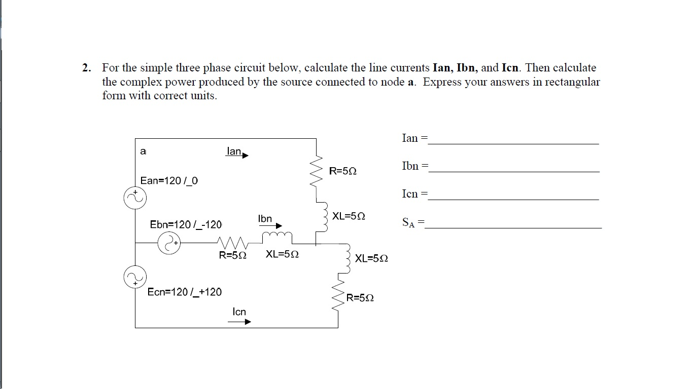 For the simple three phase circuit below, calculat