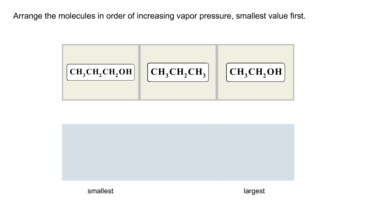 Arrange the molecules in order of increasing vapor