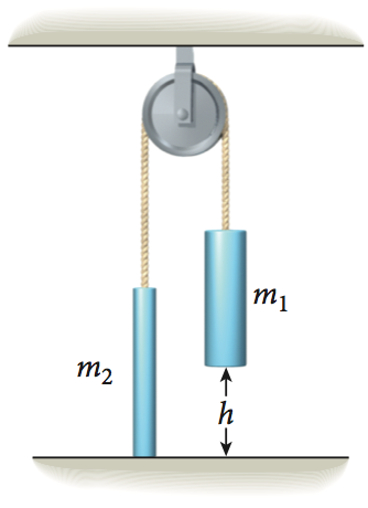 Two masses are connected by a light string that go