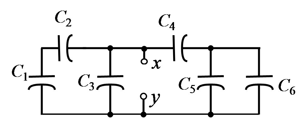Find the equivalent capacitance between terminals