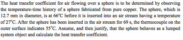 The heat transfer coefficient for air flowing over